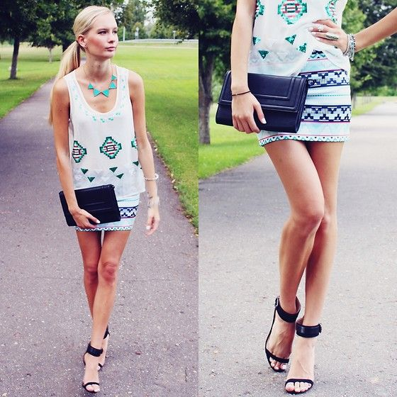 Ebay Triangle Necklace, Sheinside Tribal Print Top, Sheinside Tribal Print Skirt, H Black Clutch, Zara Black Sandals