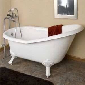 "54"" Emma Cast Iron Slipper Clawfoot Tub (White Imperial Feet / Rolled Rim / No Tap Holes)"