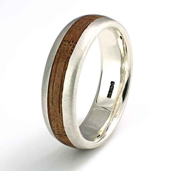 9ct white gold ring (6mm) with an inlay of whisky barrel oak C289. Eco Wood Rings. Custom Design Rings, unique handcrafted wood rings