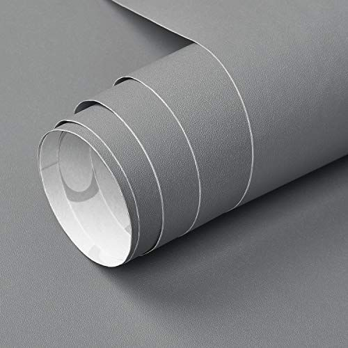 Symoden 15 7 X 78 7 Solid Grey Contact Paper Self Adhesive Peel And Stick Wallpaper Matte Grey Textured V Grey Wallpaper Peel And Stick Wallpaper Shelf Liner