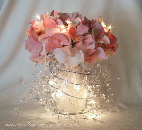 garland lights centerpiece - wedding craft project / lasawyer