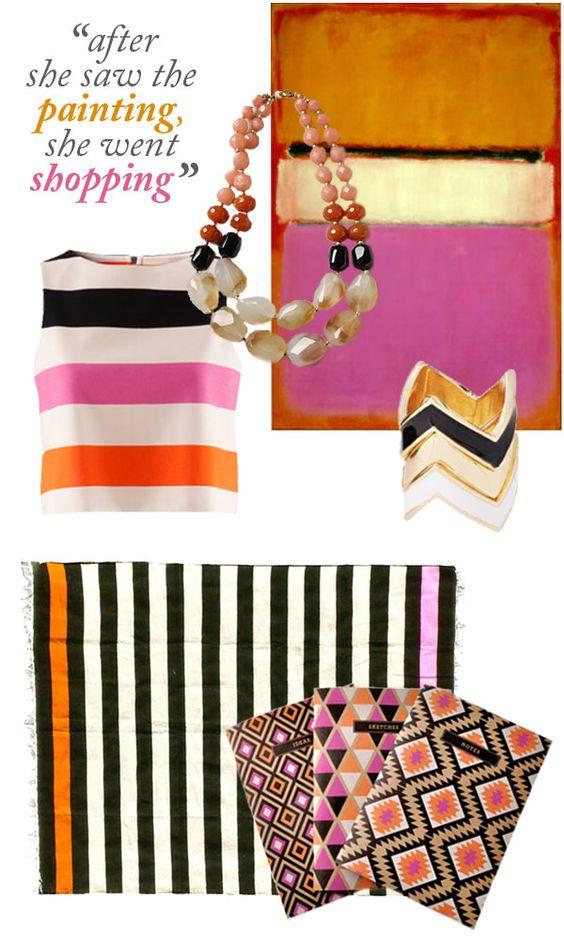 pink orange black gold and stripe
