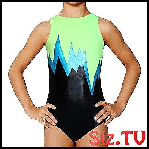 New girls gymnastic leotard black//green lightning