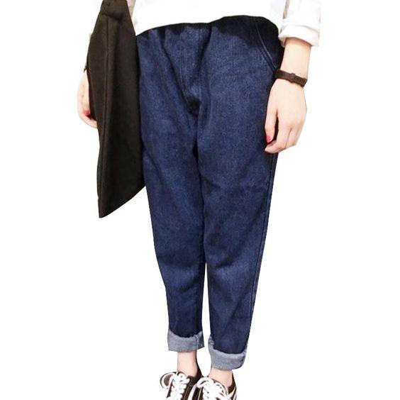 #aliexpress, #fashion, #outfit, #apparel, #shoes 2016, #Fashion, #<font><b>Women</b></font>, #Elastic, #Waist, #Solid, #Color, #Denim, #Jenas, #<font><b>Summer</b></font>, #Loose, #Casual, #Trousers, #for, #<font><b>Women</b></font>, #Dark, #Blue, #Harem, #Pants http://s.click.aliexpress.com/e/bAmAYNjQB