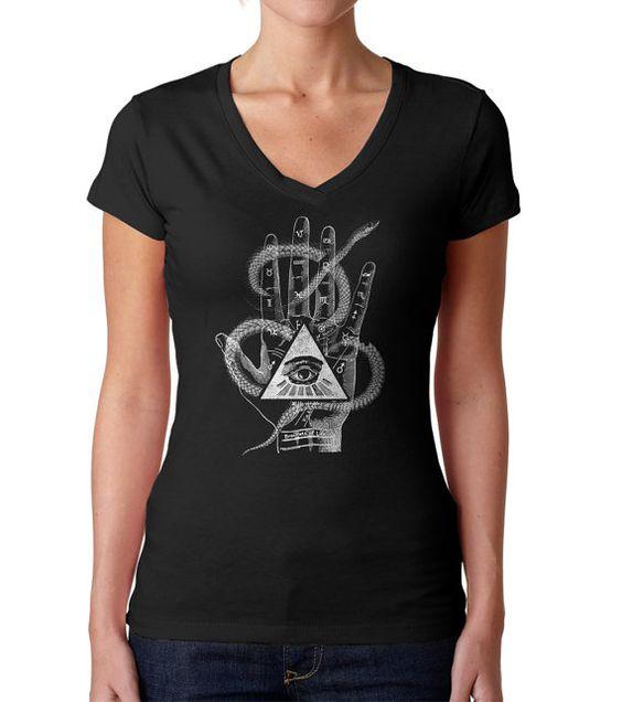 Palmistry Gypsy Collage T-Shirt  Magick Boho Tattoo by boredwalk