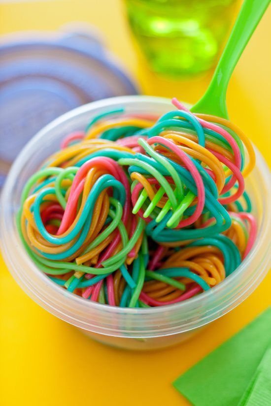 Boil 4 different pots of water & add a different food coloring to each boiling water. Put noodles in each, drain, rinse...WALAAA. Your child has beautiful noodles they can not resist :)