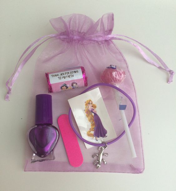 Girls Pamper Sleepover  Birthday Party Pre-filled Pink Organza Gift Bag