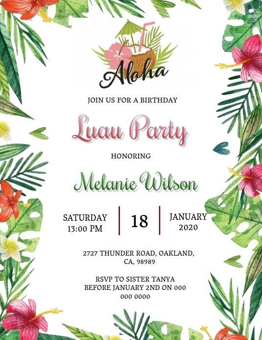 Aloha Luau Birthday Invitation Template In 2020 Luau Birthday Invitations Birthday Invitation Templates Luau Invitations