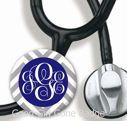 Stethoscope ID Tag  Monogram Chevron  Choice by GoodGirlGoneBadge