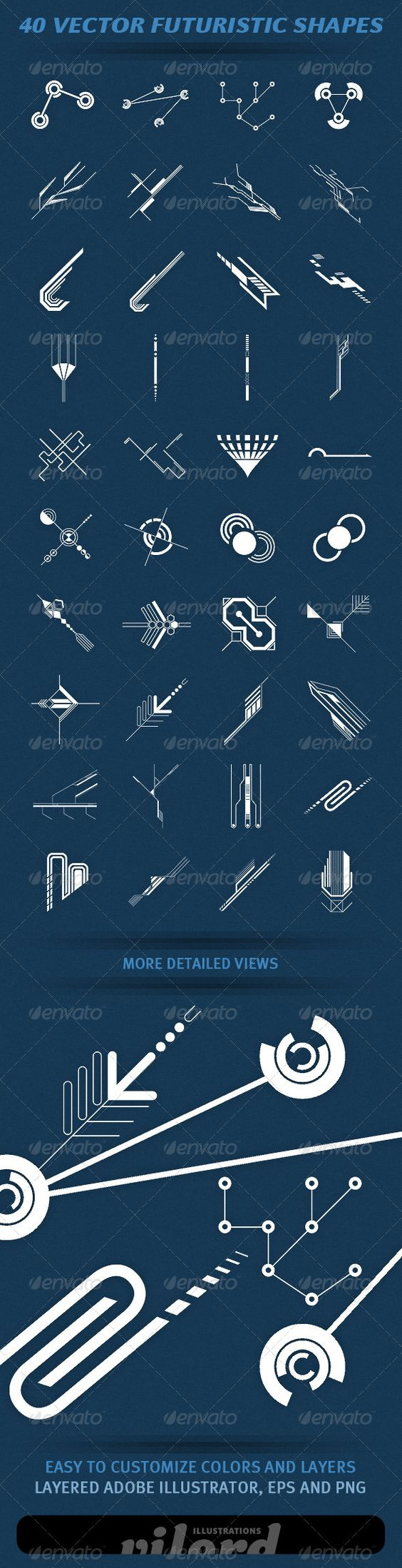 """40 Vector Futuristic Shapes  #GraphicRiver         Set of 40 vector hi-tech futuristic shapes for your graphic designs. Great for print or web design! Enjoy    Adobe Illustrator is main file and """"fully editable"""". Also transparent PNG and EPS files in the package.     Created: 4April12 GraphicsFilesIncluded: TransparentPNG #VectorEPS #AIIllustrator Layered: Yes MinimumAdobeCSVersion: CS Tags: decorative #future #futuristic #geometric #hi-tech #ornaments #schemes #shapes #technology #vector"""