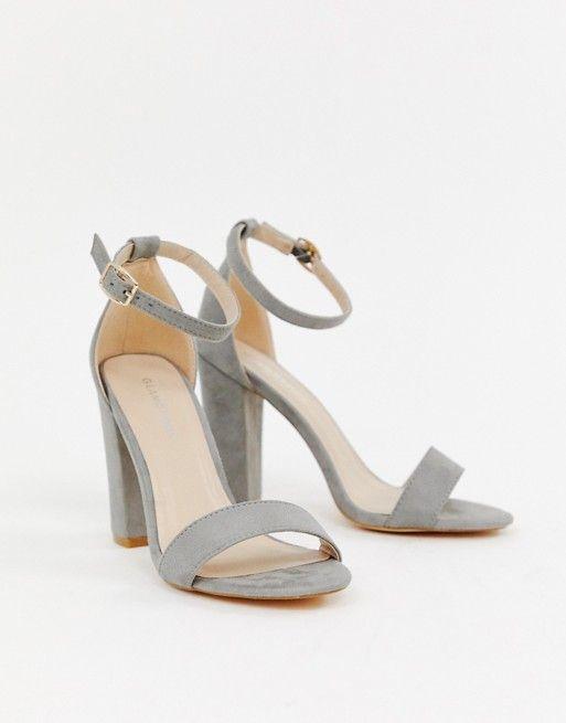 Glamorous Glamorous Barely There Gray Block Heeled Sandals Frauen In High Heels Sandalen Mit Blockabsatz Trauzeugin Schuhe