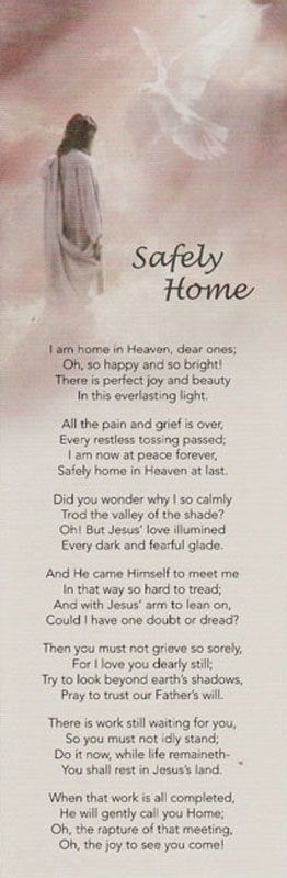 Laminated 3x9 obituary bookmark with Safely Home poem on the front, and personalized with photo and funeral obituary on the back.