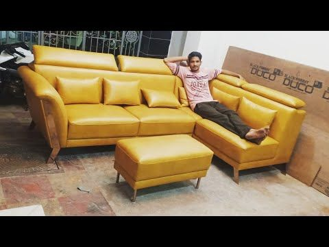 Rose Gold Leg Yello Colour L Shape Sofa Corner With Puffy Make By Zafar Khan Youtube L Shaped Sofa Sofa Cumbed Gold Legs