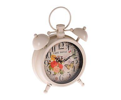 Reloj de sobremesa en metal - blanco e ivory