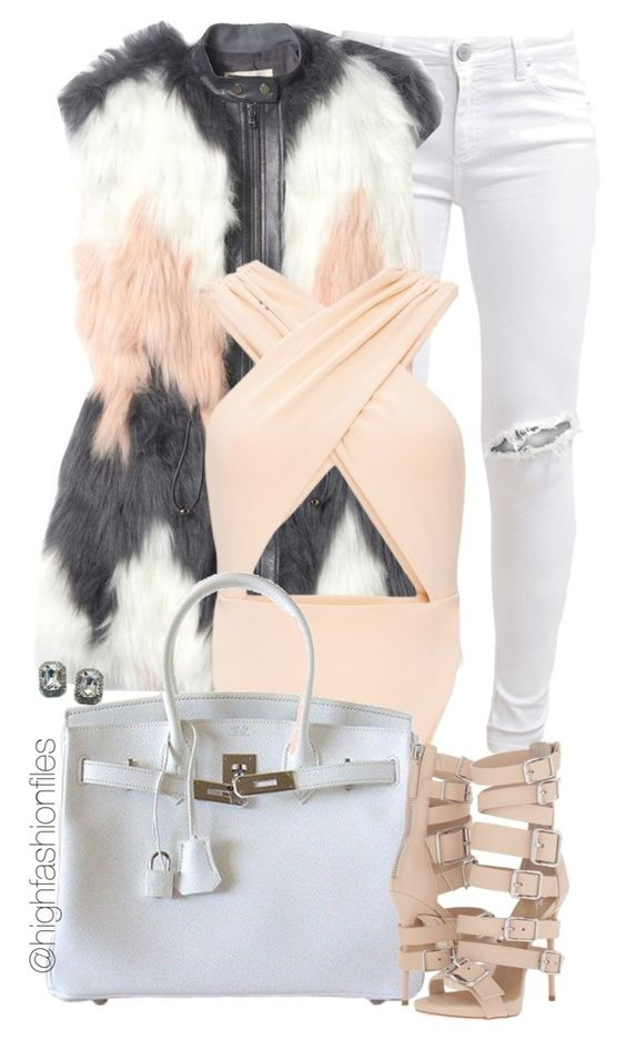 """""""Warm Fall Night"""" by highfashionfiles ❤ liked on Polyvore featuring FiveUnits, Rebecca Taylor, Cushnie Et Ochs, Hermès, Giuseppe Zanotti and Fantasy Jewelry Box"""