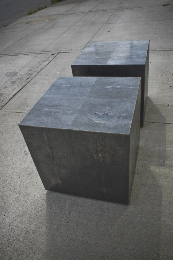 Dark Silver Bronze Shagreen Side Tables - Jets VIP stadium interiors   Michael Wong & Yabu Pushelberg   Archinect