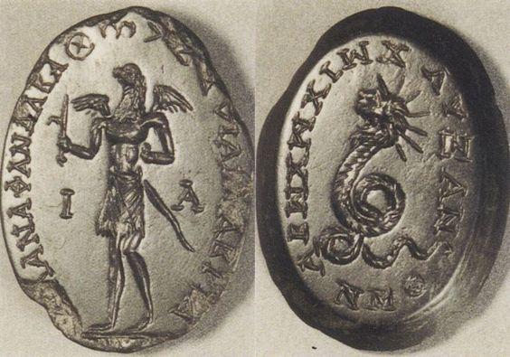 Talismans - Magical gem: Eagle-headed figure (A) Chnoubis (B)