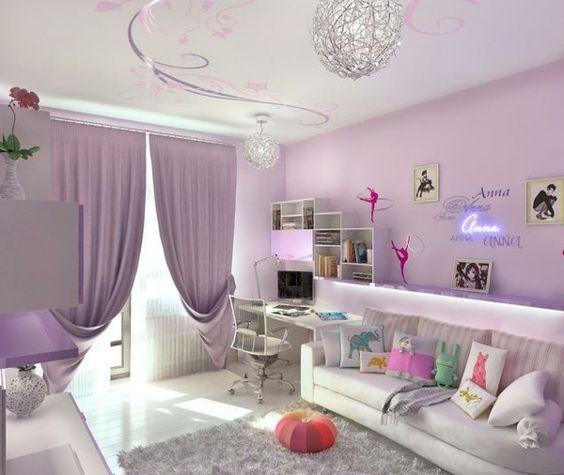 Teenager Zimmer Mädchen Ideen hell lila