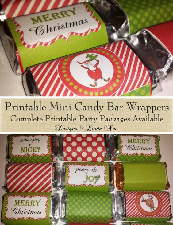 Candy Bar Wrappers - Santa Christmas Mini Hershey Bar Candy Wrappers ...