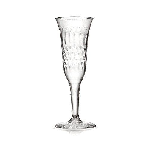Fineline Flairware 5 oz. Clear Plastic Champagne Flute - 1 Piece 8 / Pack 4.39