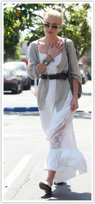 Slouchy cardigan layered over a maxi dress, with a belt to accentuate your waist....: