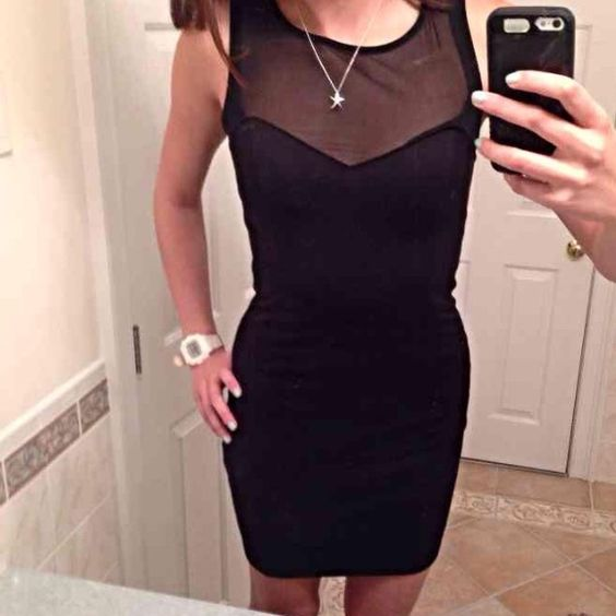 Black Mesh Bodycon Dress Beautiful right fitting dress Dresses Mini