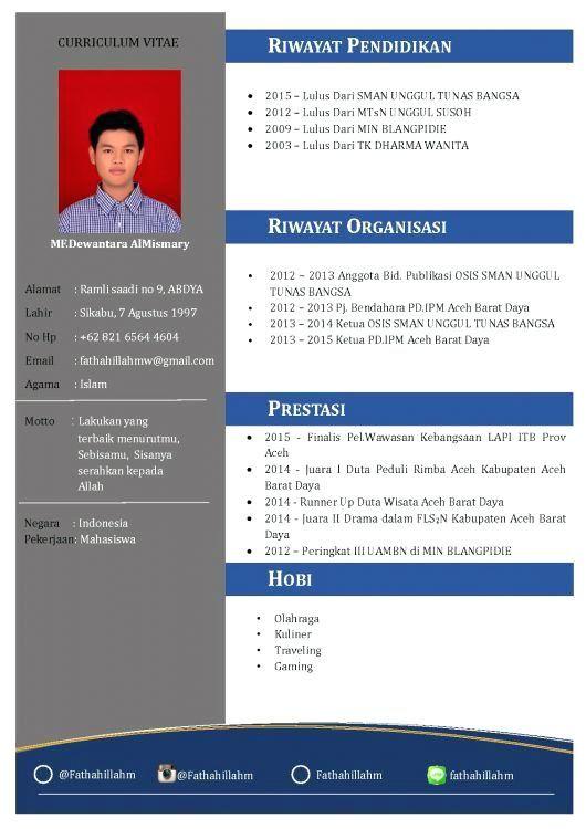 Format Resume Yang Menarik Resume Format Desain Cv Desain Resume Cv Kreatif