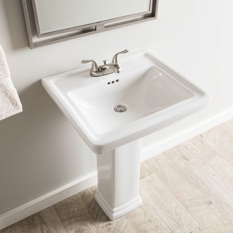 Aquasource 33 6 In H White Vitreous China Pedestal Sink At Lowes Com In 2020 Pedestal Sink Sink Bathroom Styling