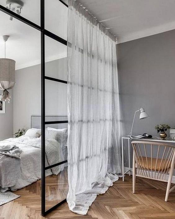 verriere chambre et bureau avec rideau