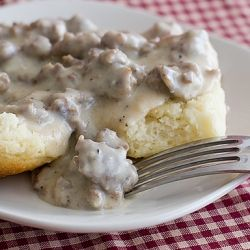 The BEST biscuits and sausage gravy..