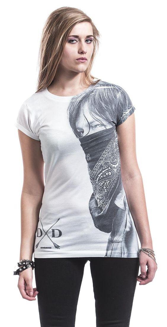 The Walking Dead Daryl Large Face Bandana T-shirt Femme blanc: Amazon.fr: Vêtements et accessoires