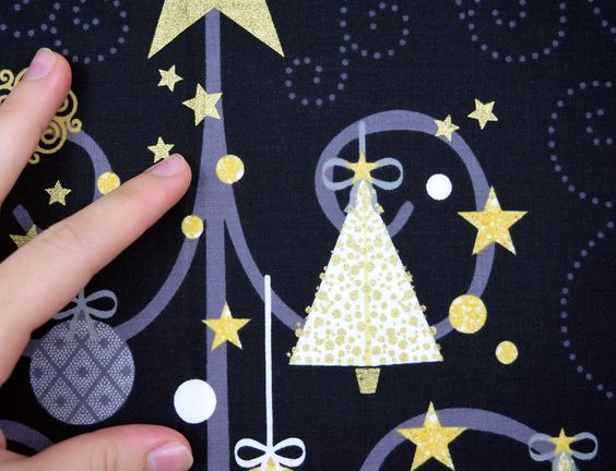 Loving the festive star, ornament, and tree motifs in our All That Glitters fabric collection. Here is a detail shot - the subtle hints of metallic are gorgeous!