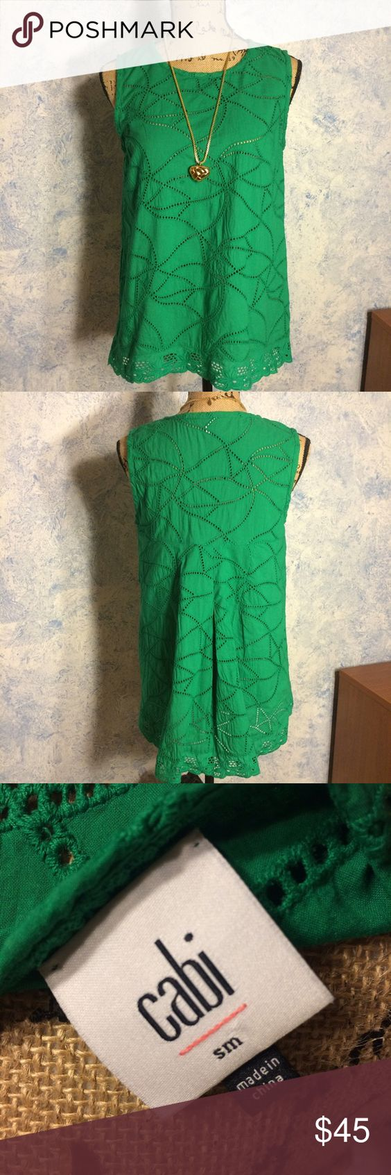 🎈New item🎈Cabi Gemma top VGUC Jelly bean green Gemma top. Spring 2016. There is a very very very slight fading on the top of the color area in front. I tried to zoom in on it but it's so faint hardly shows up in picture but I did want to mention. Machine washed and laid flat to dry. Eyelet design, form fitting at chest and eases into a swing shape. 100% cotton. CAbi Tops Tank Tops