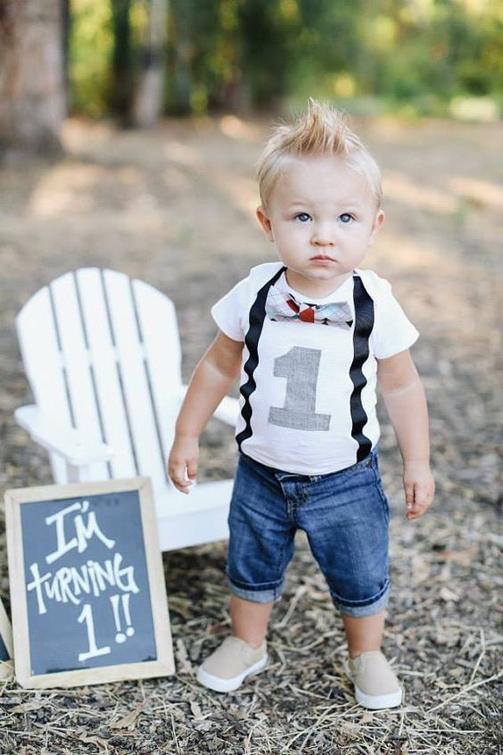 Boys First Birthday Outfit - Baby Boy Clothes - Black Suspenders and Blue Orange Grey White ...
