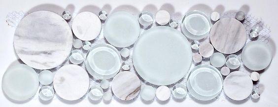 Bubble Listello Series - White Dove 4 x 12 Border Glass Tile