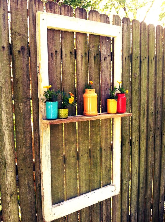 Easy decoration for your fence old window scrap piece of