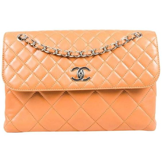 """Chanel Tan Lambskin Leather Quilted """"In The Business"""" Chain Link Strap Bag"""