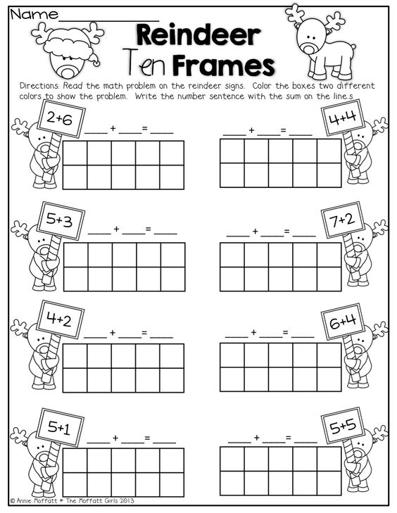 Reindeer Ten Frames Simple math problems with ten frames – Ten Frame Worksheets Kindergarten
