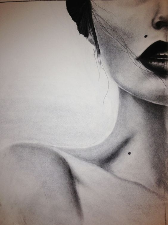great charcoal drawing cool framing of a specific portion -failed realism with the shape of the neck