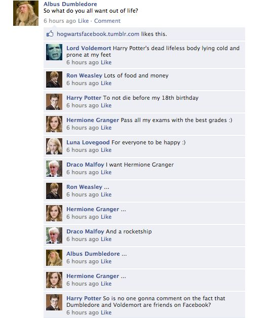 """Harry Potter facebook~hahhahahahhahhaha! Love that Draco wants a rocketship (if you don't know why, look up """"A Very Potter Musical"""")"""