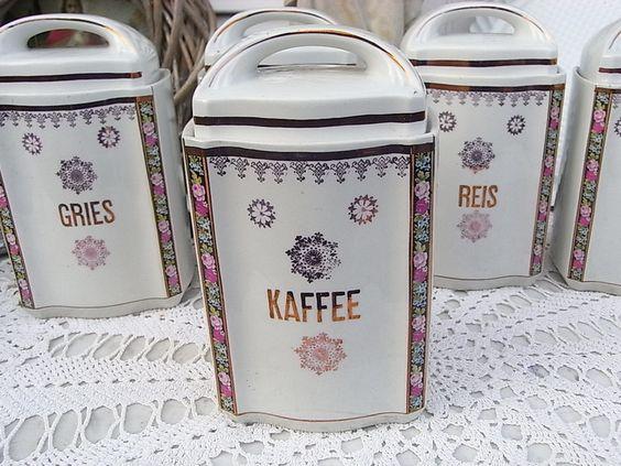 Vintage Dosen - alte Vorratsdose Kaffee 20er Jahre Dose shabby - ein Designerstück von artdecoundso bei DaWanda