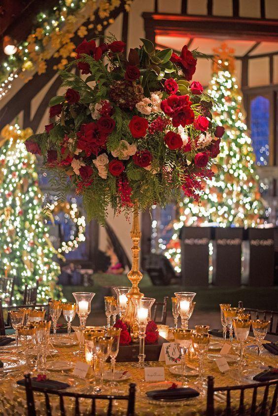 Wonderful Winter Weddings Color Scheme Ideas Christmas Wedding Table Christmas Wedding Centerpieces Winter Wedding Receptions