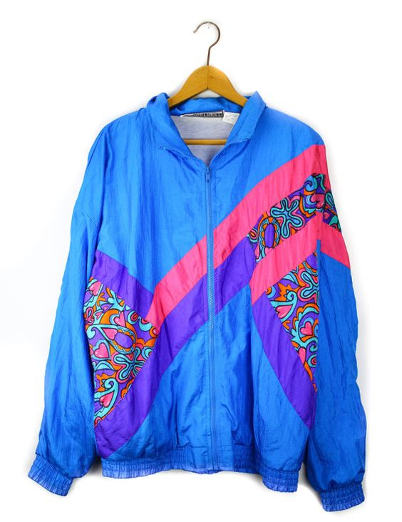 80's Neon Retro Nylon Workout Windbreaker Jacket | Windbreaker ...