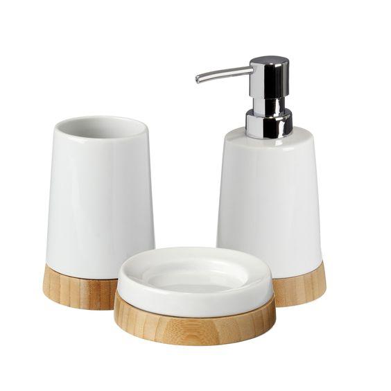Ensemble d 39 accessoires de salle de bains en c ramique et for Accessoires salle de bain alinea