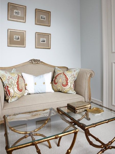 Modern-Traditional Settee | photo Stacey Brandford | design Sarah Richardson | House & Home