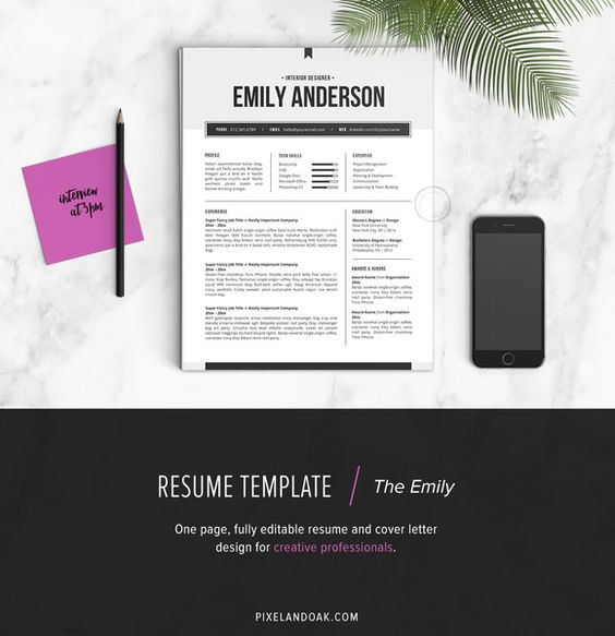Resume Template The Emily 2pk by Pixel \ Oak on @creativework247 - one page resume format