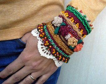 Blue-Green Bracelet Cuff Crochet Cuff Bracelet by SvetlanaCrochet: