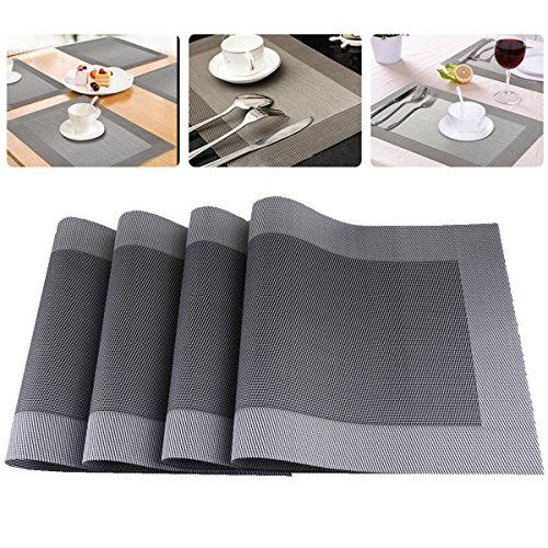 Placemats Kitchen Pvc Heat Resistant Antiskid Table Mats Modern Washable Dining Placemat Sets Of 4 Greysil Dining Table Placemats Dark Wood Table Wooden Tables