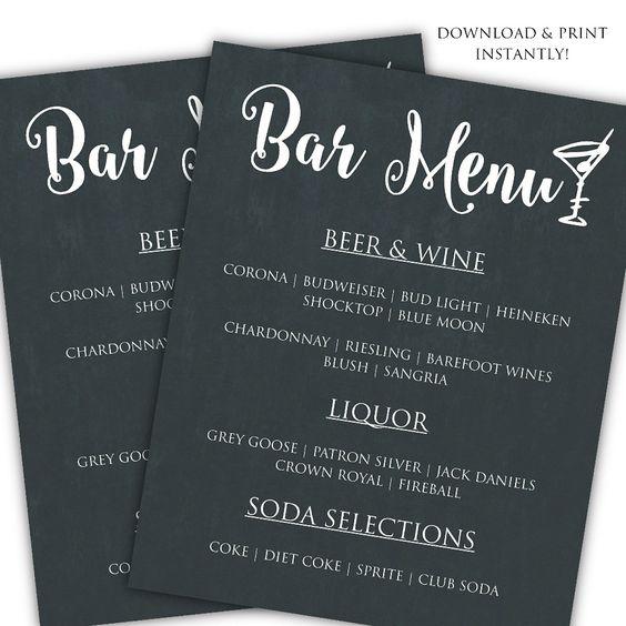 Diy Drinks Food Printables: Printable DIY Bar Menu Template For $6.50 #onselz