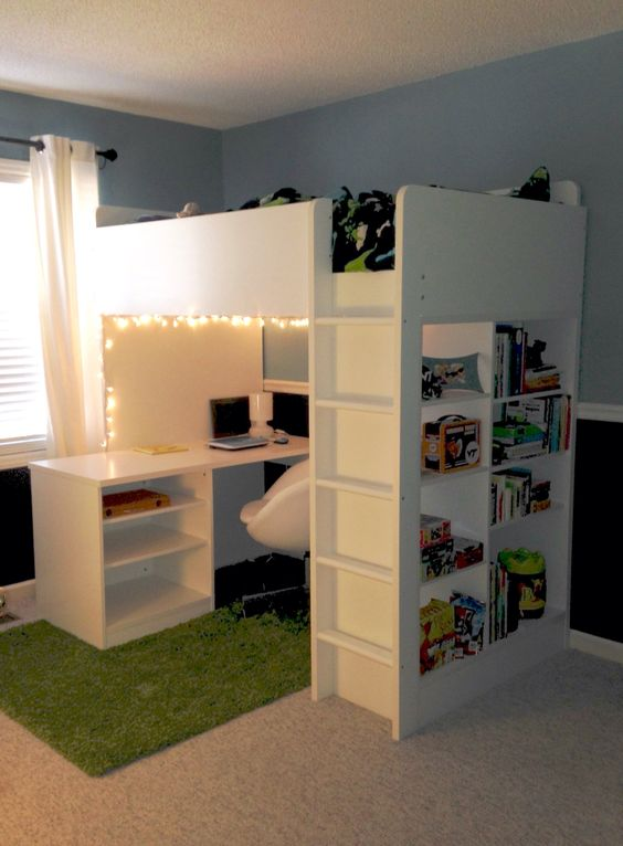 "Jackson's ""new"" room - bed is Stuva loft bed/desk combo from Ikea"